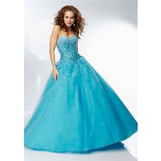 Ball Gown Sweetheart Corset Back Long Blue Tulle Rhinestone Beaded Prom Dress