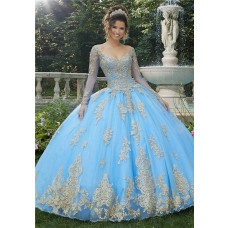 Ball Gown Prom Dress Long Sleeve Light Blue Tulle Gold Lace Quinceanera Dress