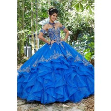 Ball Gown Prom Dress Royal Blue Tulle Ruffle Embroidery Quinceanera Dress