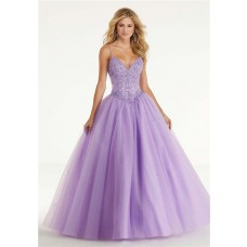 Ball Gown Sweetheart Drop Waist Lilac Tulle Beaded Prom Dress Spaghetti Straps