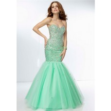 Classy Mermaid Sweetheart Long Mint Green Tulle Beaded Prom Dress Corset Back