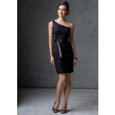 Column one shoulder short mini black lace party bridesmaid dress with sash