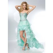 Cute Sweetheart Neckline High Low Mint Green Organza Ruffle Beaded Prom Dress