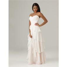 Elegant sweetheart floor length long white chiffon ruffle layered bridesmaid dress