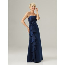 Empire sweetheart long navy blue taffeta ruffle bridesmaid dress with flower