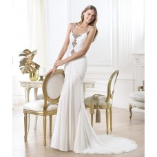 Fashion Sexy Sheath Square Neck Chiffon Ruched Wedding Dress With Beaded Straps