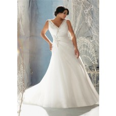 Fitted A Line V Neck Organza Beaded Crystal Plus Size Wedding Dress With Buttons