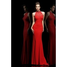 Formal Slim High Neck Long Red Chiffon Lace See Through Evening Prom Dress