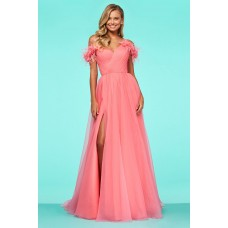 Glamour Long Coral Tulle Feather Off The Shoulder Prom Dress With Slit