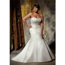 Gorgeous Mermaid Sweetheart Embroidered Satin Beaded Plus Size Corset Wedding Dress