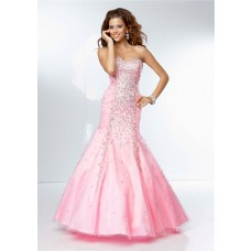 Gorgeous Mermaid Sweetheart Neckline Pink Tulle Beaded Prom Dress Corset Back