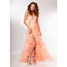 High Low Sweetheart Light Coral Organza Ruffle Beaded Prom Dress Corset Back Side Slit