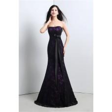 Mermaid Strapless Corset Purple Satin Black Lace Evening Prom Dress With Sash