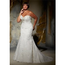 Mermaid Sweetheart Lace Beaded Crystal Plus Size Wedding Dress With Detachable Straps