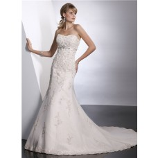 Modern Trumpet/ Mermaid Sweetheart Empire Chapel Train Lace Wedding Dress With Beaded Crystal Sash