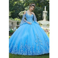 Princess Ball Gown Prom Dress Light Blue Tulle Lace Long Sleeve Quinceanera Dress Cold Shoulder