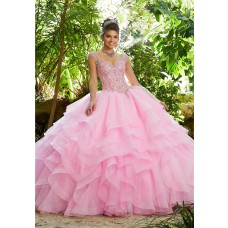Quinceanera Dress Ball Gown Prom Dress Pink Tulle Ruffle Beaded
