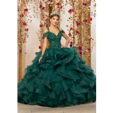 Quinceanera Dress Ball Gown Puffy Dark Green Organza Ruffle Beaded Prom Dress