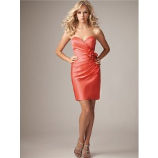 Sexy column sweetheart mini coral silk satin bridesmaid dress with flowers