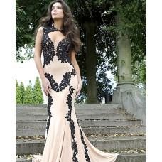 Sexy Front Cut Out Sheer Illusion Back Nude Chiffon Black Lace Evening Prom Dress