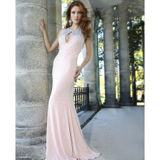 Sexy Front Keyhole Backless Long Light Pink Chiffon Beaded Prom Dress With Straps