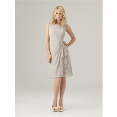 Sheath bateau neck short light grey chiffon modest bridesmaid dress with ruffles