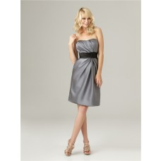 Sheath strapless short charcoal grey satin ruched bridesmaid dress with sash