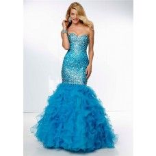 Sparkly Mermaid Sweetheart Long Blue Organza Ruffle Beaded Prom Dress Corset Back