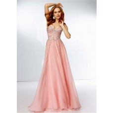 Stunning A Line Strapless Sweetheart Neckline Long Pink Chiffon Beaded Prom Dress