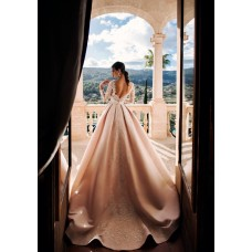 Stunning A Line Backless Wedding Dress Champagne Satin Lace With Long Sleeves