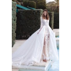 Stunning Two In One Wedding Dress Tulle Lace Long Sleeves With Detachable Skirt