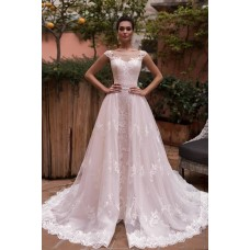 Stunning Vintage Lace Wedding Dress Illusion Neckline Sleveless