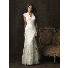 Trumpet Mermaid scalloped cap sleeve court train lace modest wedding dress