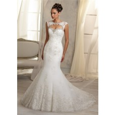 Unique Mermaid Sweetheart Cut Out Cap Sleeve Lace Wedding Dress Open Keyhole Back