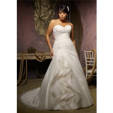 Unusual A Line Sweetheart Organza Ruffle Lace Beaded Crystal Plus Size Wedding Dress Corset Back