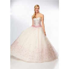 Unusual Ball Gown Sweetheart Champagne Tulle Pink Beaded Prom Dress Corset Back